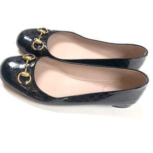 GUCCI Jolene Flats 40 GG Horsebit Patent Shoes